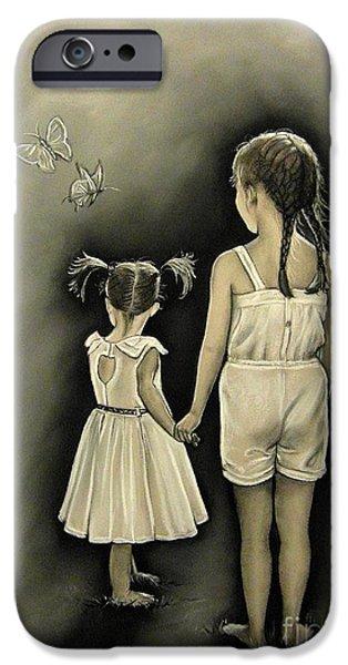 Sisters Drawings iPhone Cases - Sisters... iPhone Case by Anastasis  Anastasi