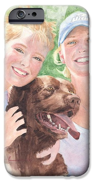 Recently Sold -  - Chocolate Lab iPhone Cases - Sisters And Chocolate Lab In Sun Watercolor Portrait iPhone Case by Mike Theuer