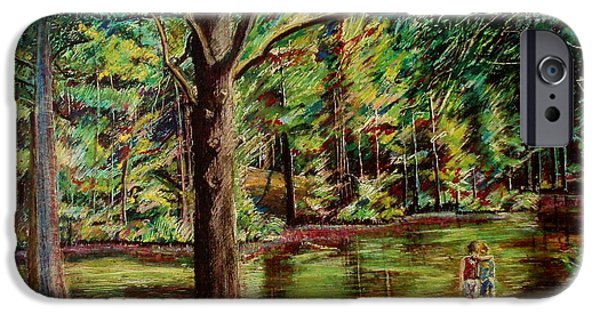 Tree Roots Pastels iPhone Cases - Sisters At Wason Pond iPhone Case by Sean Connolly