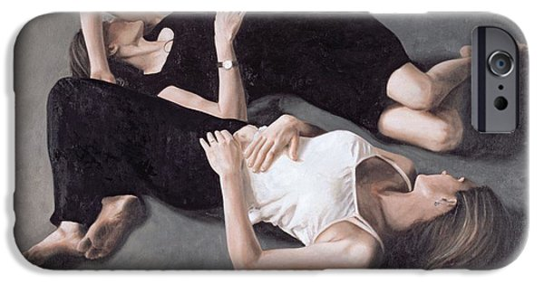 Sisters iPhone Cases - Sisters Oil On Canvas Board iPhone Case by John Worthington