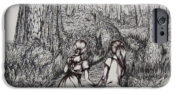 Pathway Drawings iPhone Cases - Sisters iPhone Case by Shayla Tansey