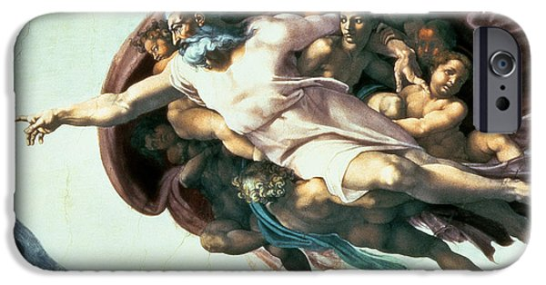 Renaissance iPhone Cases - Sistine Chapel Ceiling Creation Of Adam, 1510 Fresco Post Restoration Detail Of 77430 iPhone Case by Michelangelo Buonarroti