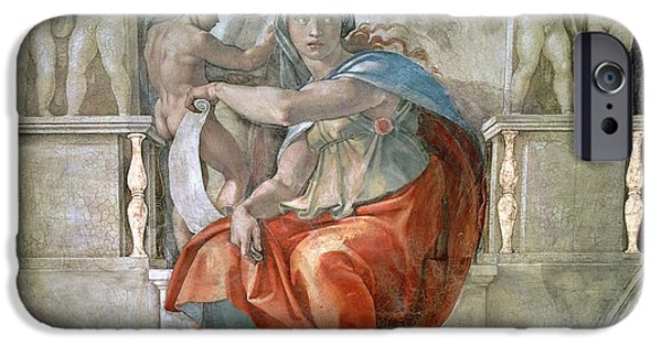 Oracle iPhone Cases - Sistine Chapel Ceiling Delphic Sibyl Fresco iPhone Case by Michelangelo Buonarroti