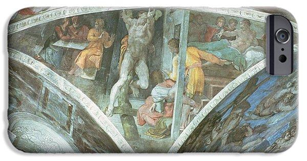 Old Testament iPhone Cases - Sistine Chapel Ceiling Haman Spandrel Pre Restoration iPhone Case by Michelangelo Buonarroti