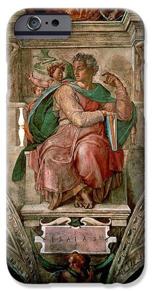 Old Testament iPhone Cases - Sistine Chapel Ceiling The Prophet Isaiah Fresco iPhone Case by Michelangelo Buonarroti