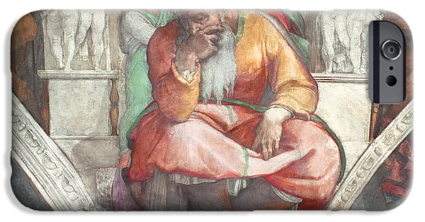Old Testament iPhone Cases - Sistine Chapel Ceiling The Prophet Jeremiah Pre Resoration iPhone Case by Michelangelo Buonarroti