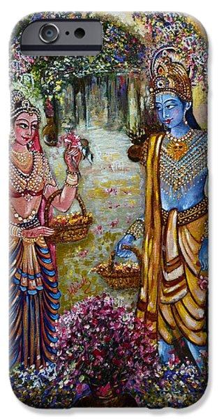 Hindu Goddess iPhone Cases - Sita Ram iPhone Case by Harsh Malik
