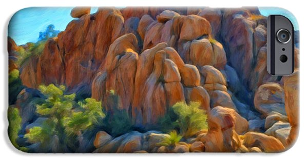 Desert Scape iPhone Cases - Sitting Above The Rock Pile iPhone Case by Michael Pickett