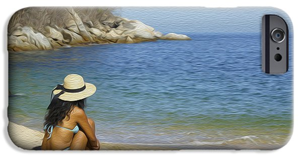 Pleasure Digital Art iPhone Cases - Sitting at the beach iPhone Case by Aged Pixel