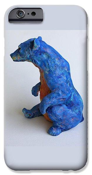 Ceramics iPhone Cases - Sitting bear-sculpture iPhone Case by Derrick Higgins