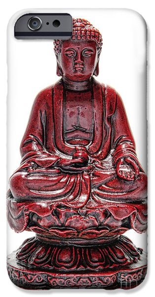 Buddhism iPhone Cases - Sitting Buddha  iPhone Case by Olivier Le Queinec
