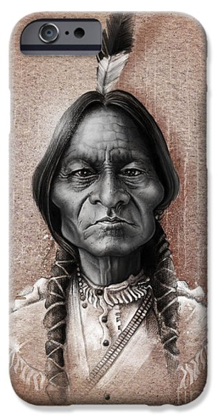 Caricature Digital Art iPhone Cases - Sitting Bull iPhone Case by Andre Koekemoer