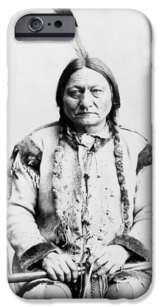 Landmarks Photographs iPhone Cases - Sitting Bull iPhone Case by War Is Hell Store