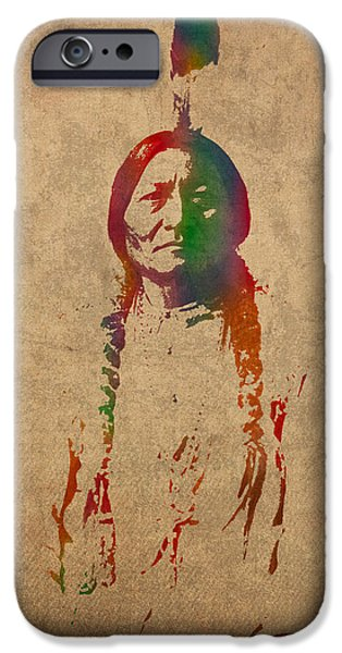 Bulls Mixed Media iPhone Cases - Sitting Bull Watercolor Portrait on Worn Distressed Canvas iPhone Case by Design Turnpike