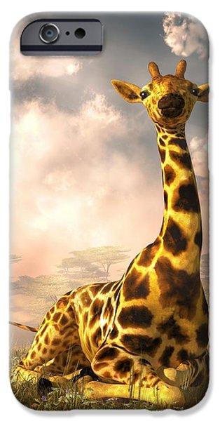 Giraffe Digital iPhone Cases - Sitting Giraffe iPhone Case by Daniel Eskridge