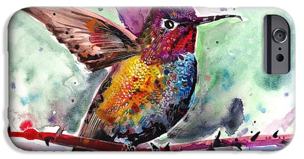 Nature Study Paintings iPhone Cases - Sitting Hummingbird Watercolor iPhone Case by Tiberiu Soos