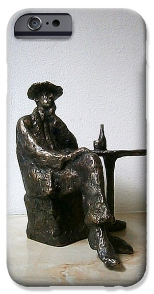 Chair Sculptures iPhone Cases - Sitting man with a bottle of wine iPhone Case by Nikola Litchkov