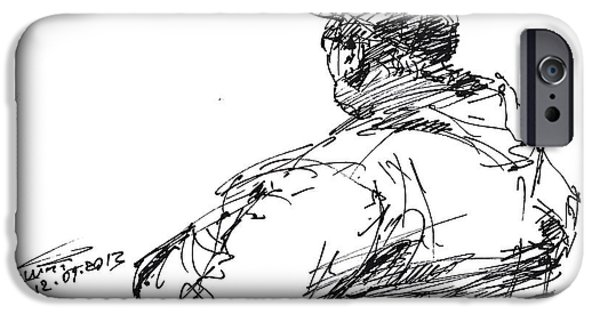 Sketch iPhone Cases - Sitting Man iPhone Case by Ylli Haruni