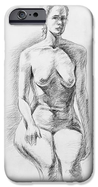 Figures iPhone Cases - Sitting Model Study iPhone Case by Irina Sztukowski