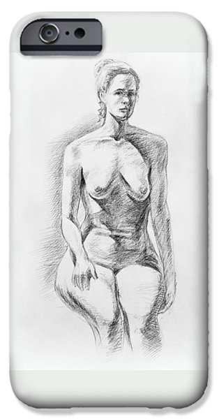 Feminine Drawings iPhone Cases - Sitting Model Study iPhone Case by Irina Sztukowski