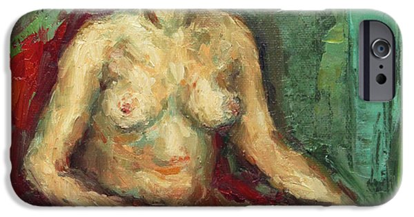 Becky Kim Paintings iPhone Cases - Sitting Nude in Red Chiar iPhone Case by Becky Kim