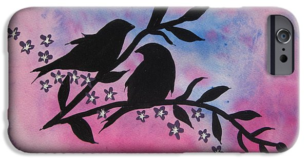Cherry Blossoms Mixed Media iPhone Cases - Sitting Pretty iPhone Case by Cathy Jacobs