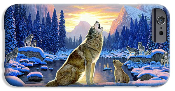 Snow iPhone Cases - Sitting Wolf And Cub iPhone Case by Chris Heitt