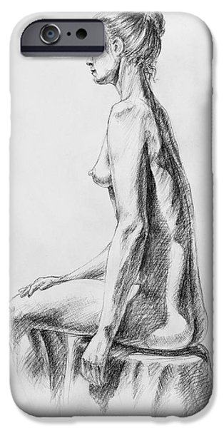 Feminine Drawings iPhone Cases - Sitting Woman Study iPhone Case by Irina Sztukowski