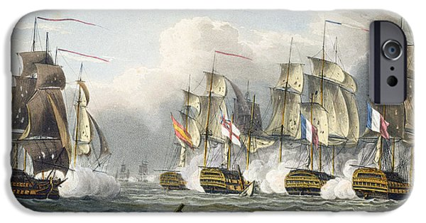 Ocean Drawings iPhone Cases - Situation of the HMS Bellerophon iPhone Case by Thomas Whitcombe