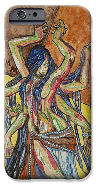 Recently Sold -  - Hindu Goddess iPhone Cases - Six Armed Goddess iPhone Case by Stormm Bradshaw