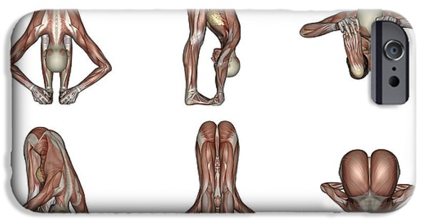Concentration Digital iPhone Cases - Six Different Views Of Big Toes Yoga iPhone Case by Elena Duvernay