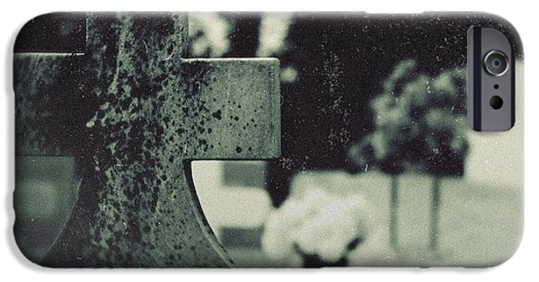 Headstones iPhone Cases - Six-Feet Above iPhone Case by Trish Mistric