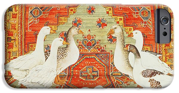 Persian Carpet iPhone Cases - Six Geese A-laying iPhone Case by Ditz