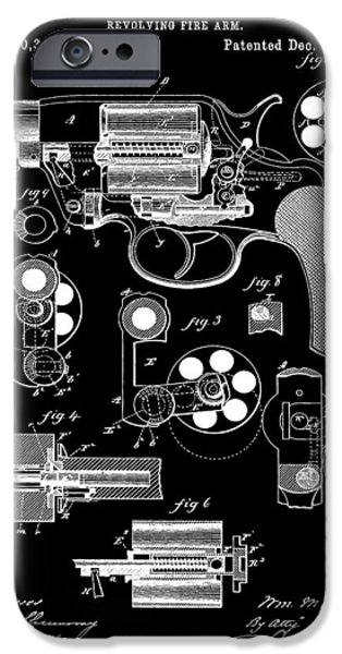 Colt 45 iPhone Cases - Six Shooter Patent iPhone Case by Dan Sproul