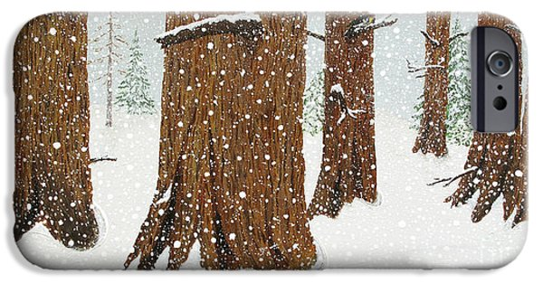Snow Scene Mixed Media iPhone Cases - Six Snowy Pines iPhone Case by L J Oakes