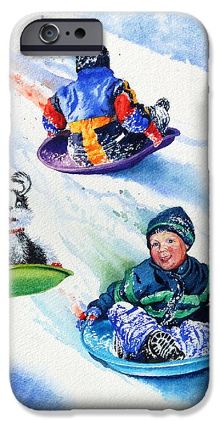 Dogs In Snow. Paintings iPhone Cases - Sizzling Saucers iPhone Case by Hanne Lore Koehler