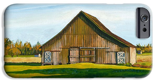 Barns Paintings iPhone Cases - Skagit Valley Barn #3 iPhone Case by Stacey Neumiller