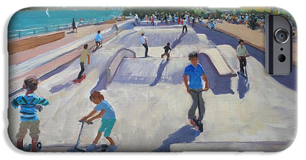 Skateboard iPhone Cases - Skateboaders  Teignmouth iPhone Case by Andrew Macara