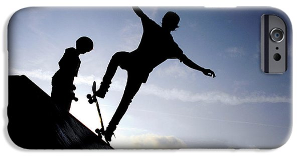 Trick iPhone Cases - Skateboarders iPhone Case by Fabrizio Troiani