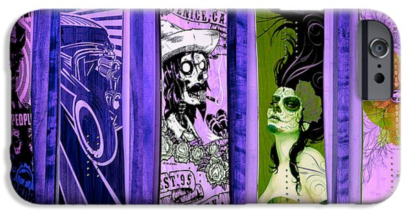 Skateboard iPhone Cases - Skateboards In Lilac iPhone Case by Fraida Gutovich