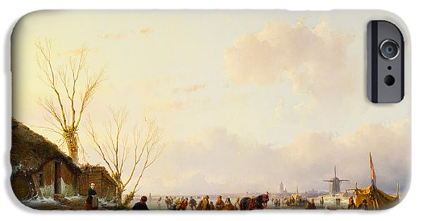 Pulling Paintings iPhone Cases - Skaters by a Booth on a Frozen River iPhone Case by Andreas Schelfhout