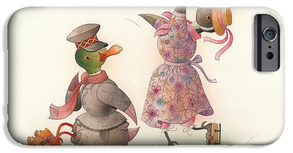 Christmas Greeting Drawings iPhone Cases - Skating Ducks 10 iPhone Case by Kestutis Kasparavicius
