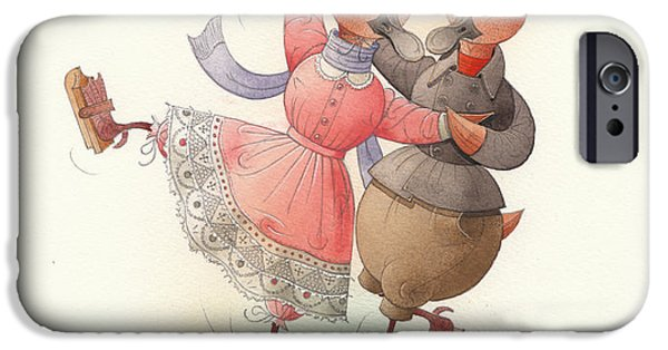 Dance iPhone Cases - Skating Ducks 11 iPhone Case by Kestutis Kasparavicius