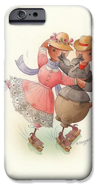 Skating Ducks 11 iPhone Case by Kestutis Kasparavicius