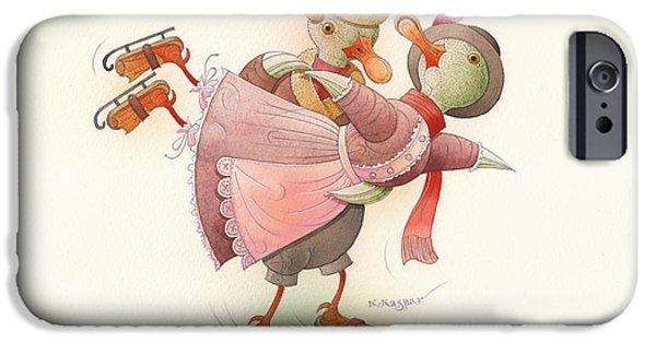 Christmas Greeting Drawings iPhone Cases - Skating Ducks 2 iPhone Case by Kestutis Kasparavicius