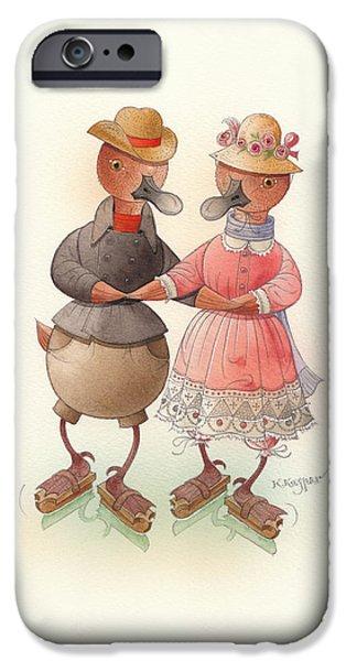Skating Ducks 6 iPhone Case by Kestutis Kasparavicius