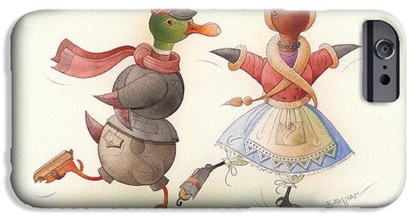 Christmas Greeting Drawings iPhone Cases - Skating Ducks 7 iPhone Case by Kestutis Kasparavicius
