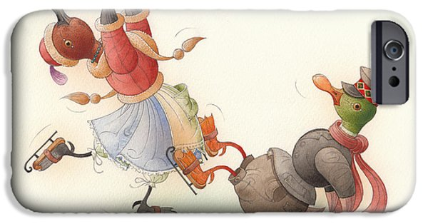 Christmas Greeting Drawings iPhone Cases - Skating Ducks 8 iPhone Case by Kestutis Kasparavicius