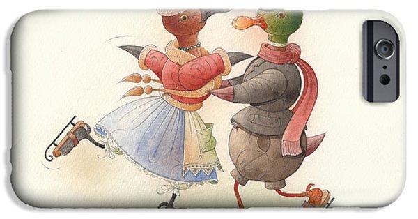 Christmas Greeting Drawings iPhone Cases - Skating Ducks 9 iPhone Case by Kestutis Kasparavicius