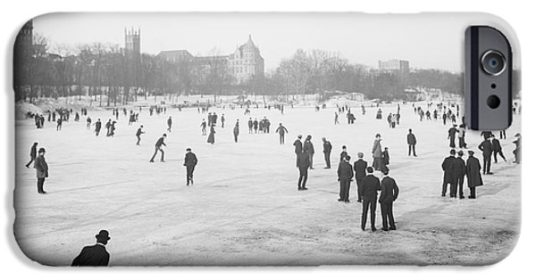 Wintertime iPhone Cases - Skating in Central Park iPhone Case by Anonymous